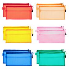 New listing 12Pcs 6 Color Pen Pencil Case Zip Pouch Double Layer File Bag Storage Waterproof