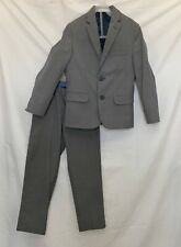 IZOD Boys Suit 2 Pc Set 7 Slim Pants, Size 8 Jacket Coat Gray Easter Church EUC