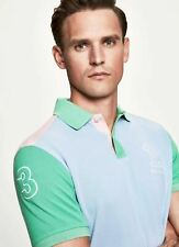 New Hackett Archive Polo T-shirt Medium Sky Blue Pink Green Logo Front