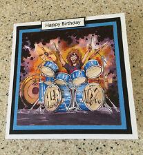 Handmade Happy Birthday 3D decoupage drums rock star music drummer card
