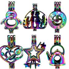Rainbow Color Pearl Cage Pendant - Family Rose Star Charms - MIX STYLE