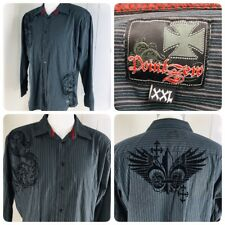 Point Zero Mens Size 2XL XXL Black Striped LS Embroidered Shirt       S5