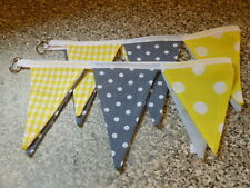 HANDMADE CURTAIN TIE BACKS  -YELLOW & GREY MIX PAIR -BUNTING STYLE -DOUBLE SIDED
