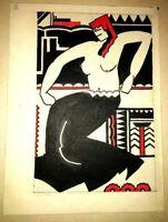 Karl Gasslander Chicago Artist Modernist Art Deco WPA Era Watercolor Cleopatra!!