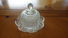Vintage AVON Cut Crystal Round Butter Dish Cheese Ball by Fostoria circa 1973