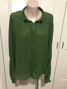 Women's *~*ELK*~*Green Long Sleeve Shirt Top  Size L