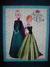 Handcrafted Aqua Frozen Elsa & Anna - Hearts Quilted all over - See Pics