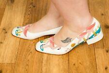 Rare vintage Flamingo embroidered pattern LIBRA shoes size 8 rockabilly pin-up