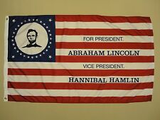 Lincoln Hamlin Election 1860 Indoor Outdoor Historical Dyed Nylon Flag 3' X 5'