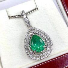 SPARKLING! 3.00TCW Emerald VS Diamonds 18K solid white gold pendant Natural Pear
