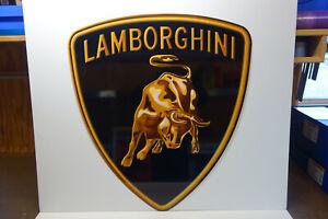 "LAMBORGHINI Steel Enamel Die Cut COLORFUL ENAMEL Dealer sign 37"" high X 33"" wide"