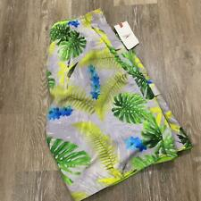 """NEW"" SPEEDO Hawaiian Print Yellow Green Swim Trunks Board Shorts Men's Size L"
