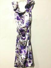 Maggy London Size 10 purple Beige Ruffle Off Shoulder Floral Dress Women Stylish