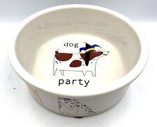 Rare SIGNATURE URSULA DODGE PARTY DOG Large FOOD WATER BOWL STONEWARE Housewares
