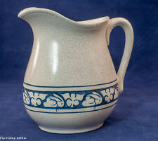 Large Cream Pitcher Decorated Blue on White  Hand Painted Signed Dated New