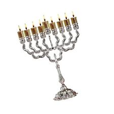 Ner Mitzvah Silver Plated Oil Menorah - Fits Standard Chanukah Oil Cups and L.