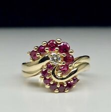 1970s 0.90 Carats Natural Ruby And .010 Carat Diamond 14K Yellow Gold Ring Dream
