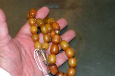 ANTIQUE AFRICAN AMBER PRAYER BEADS WITH GOLD PLATED DECORATIONS, 90 G. BEAUTY