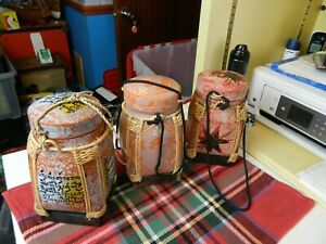 oriental paper mache & weaved bamboo tea canisters x 3