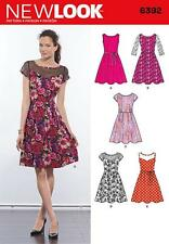 NEW LOOK SEWING PATTERN Misses' Dresses with Contrast Fabric Options 10-22 6392