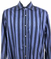 Bugatchi Uomo Shaped Fit Mens Shirt Long Sleeve Button Front Size M Striped Blue