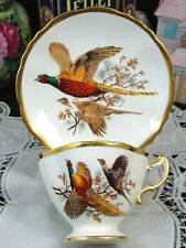 HAMMERSLEY PHEASANTS BIRDS GOLD TRIM TEA CUP AND SAUCER