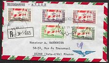 Lebanon covers 1946 R-Airmailcover Tripoli-Marine to Dijon