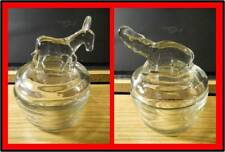 Pair 1940's Vintage Jeannette Glass Elephant Donkey Powder Jar Trinket Dish EUC
