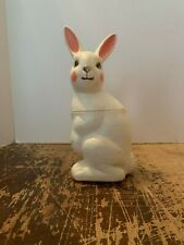 Vintage White Blow Mold Easter Bunny Candy Holder