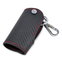 Leather Carbon Fiber Remote Key Case chain keyless Fob cover Holder for Audi BMW