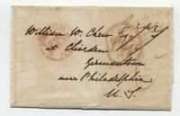 1841 Boston transatlantic stampless 77 rate to Germantown PA [45.106]