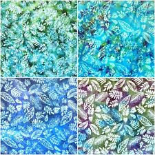 Stunning 100% Cotton Fabric Batik Mixed Leaves In Blues & Green - Fats & Metres