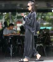 Women's Loose Velvet Blouse Wide Leg Pants 2pcs Suits Comfort Casual Tops Pants