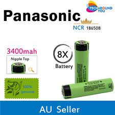 8x Panasonic NCR18650B 3400mAh Lithium Li-Ion Button Top Rechargeable batteries