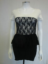 Cream and Black Short Sleeve Bodycon Fitted Stretch Lace Peplum Dress UK 8