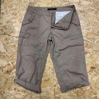 Calvin Klein Women's 3/4 Length Shorts Cargo Capri Trousers Beige/ Brown Sz 10
