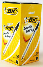 200 PCS(50 x 4) ORIGINAL BIC CRISTAL 1.00mm BLACK SMOOTH WRITING BALL POINT PENS