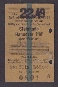 Germany, 1949 used Railway Ticket, Narrow Gauge Line, Wokers Weekly 3rd Class