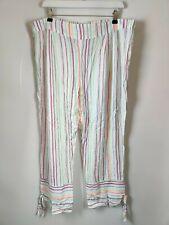 New M&S Love Sleep Pyjama Trousers Cropped White Striped Rainbow Plus 18 Tall