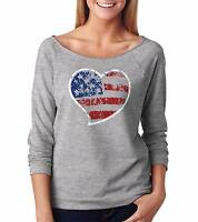 USA Flag Patriotic Raglan 4th of July French terry 3/4 Sleeve Top Womens Top