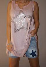 Italy Kleid Long Top Tunika Stern Pailletten Ballonform S 36- 40/42 L XL Rosa