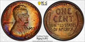 1953 LINCOLN WHEAT CENT PCGS MS63 RB STUNNING NATURAL COLOR TONED BEAUTY