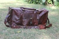Leather Overnight Bag Travel Duffle waxed  Weekend Vintage Genuine Mens Luggage
