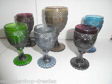 23844 6x Pressglas Becher Art Deco pressed glass cup  Gut Good 10 11 13 cm