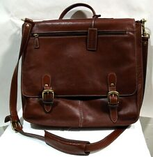 Austin Reed Burgundy Leather Messenger Briefcase w Brass Hardware Gently Used