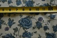 By 1/2 Yd, Blue, Green & Plum Floral on Tan Quilt Cotton, P377