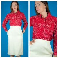 Red Vtg 60s Tailored Bandana Paisley Handkerchief Blouse Top mod so cute xs/s