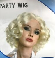 Women's Short Curly Hair Gold Blonde Wig 70s 80s Party Costume Dress Up