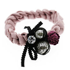 Pink Black Balls Flowers Women Girl Elastic Hair Band Wrap Accessories HA272