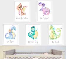 Dinosaurs Dragon Nursery Wall Art Print Set Of 5, Dinosaur Boys Bedroom Pictures